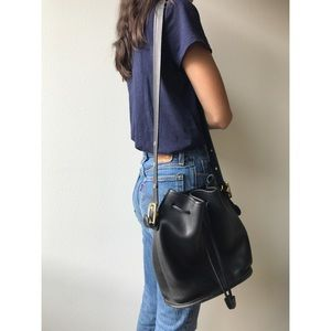 Vintage Coach Leather Drawstring Bucket Bag
